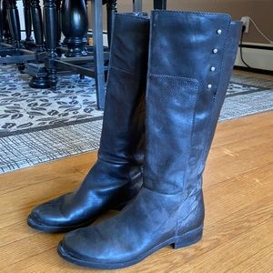 Black leather studded riding boots